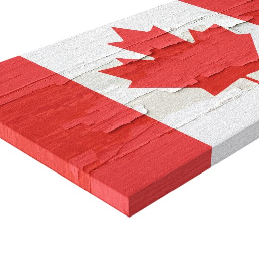 Canadian Flag Weathered Paint Stretched Canvas Print