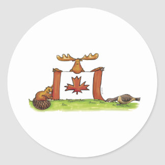 Canadian Flag with moose, beaver and goose Round Sticker