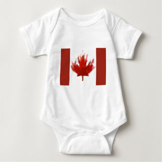 canadian flag with olympic rings baby bodysuit