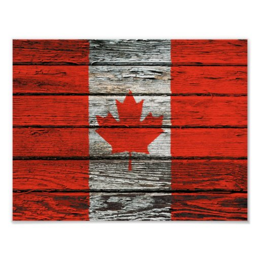 Canadian Flag with Rough Wood Grain Effect Poster