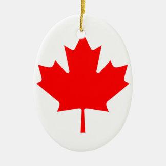Canadian FlagPattern Ceramic Ornament