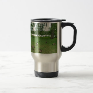 Canadian Geese by the Lake during Summer Travel Mug
