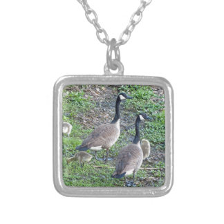 Canadian Geese Family Silver Plated Necklace