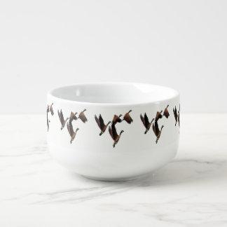 Canadian geese flying in a flock kids design soup mug