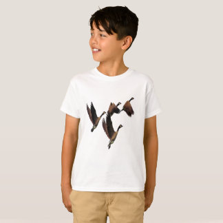 Canadian geese flying in a flock kids design T-Shirt