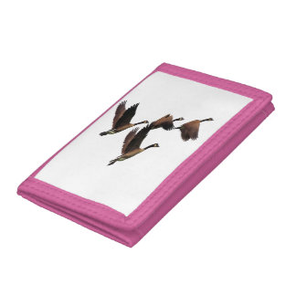 Canadian geese flying in a flock kids design tri-fold wallets