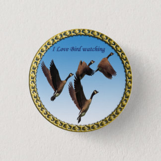 Canadian geese flying together kids design 1 inch round button