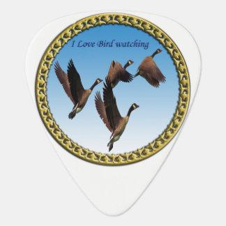 Canadian geese flying together kids design guitar pick