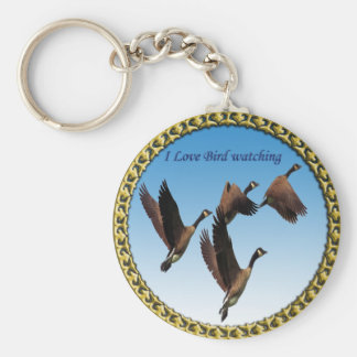 Canadian geese flying together kids design keychain