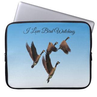 Canadian geese flying together kids design laptop sleeve