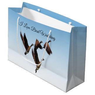 Canadian geese flying together kids design large gift bag