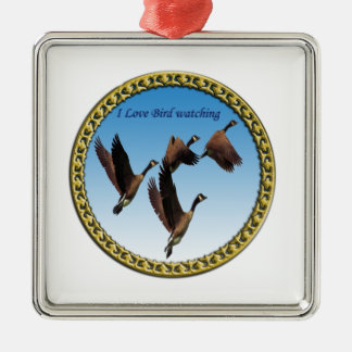 Canadian geese flying together kids design metal ornament