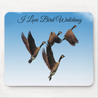 Canadian geese flying together kids design mouse pad