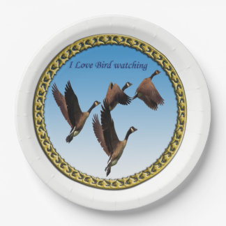 Canadian geese flying together kids design paper plate