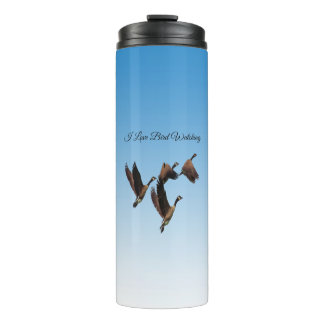 Canadian geese flying together kids design thermal tumbler
