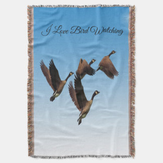 Canadian geese flying together kids design throw blanket