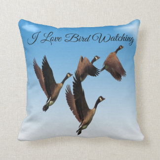 Canadian geese flying together kids design throw pillow