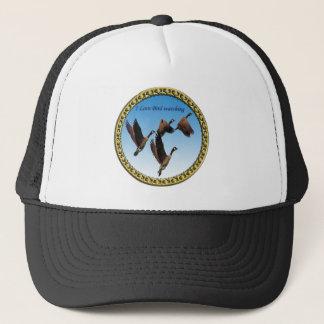 Canadian geese flying together kids design trucker hat