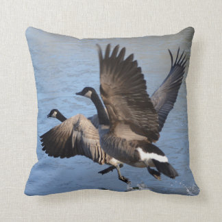 Canadian Geese Taking Flight Throw Pillow
