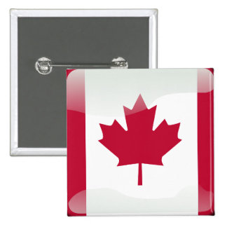 Canadian glossy flag 2 inch square button