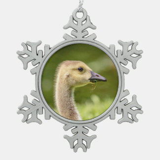 Canadian Goose (Gosling) Snowflake Pewter Christmas Ornament