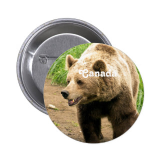 Canadian Grizzly 2 Inch Round Button
