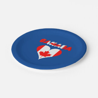 Canadian heart paper plate