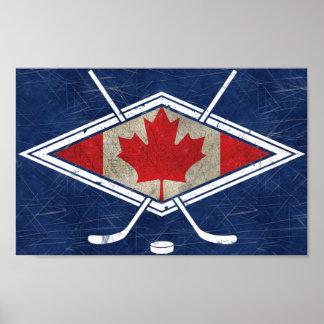Canadian Hockey Flag Logo Print