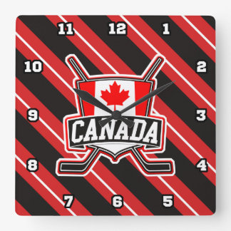 Canadian Hockey Logo Square Clock
