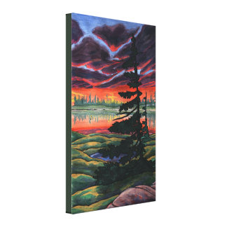 Canadian Landscape Painting Sunset Canvas Small Gallery Wrap Canvas