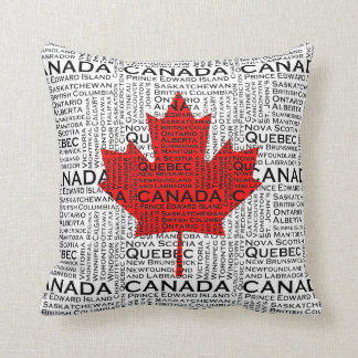 Canadian Leaf w/ City & States Background Throw Pillow