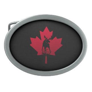 Canadian Maple Leaf and Moose Oval Belt Buckle