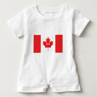 Canadian Maple Leaf Face Baby Romper