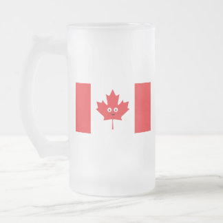 Canadian Maple Leaf Face Frosted Glass Beer Mug