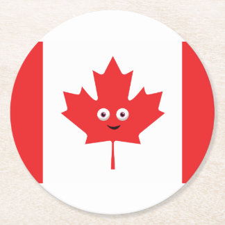 Canadian Maple Leaf Face Round Paper Coaster
