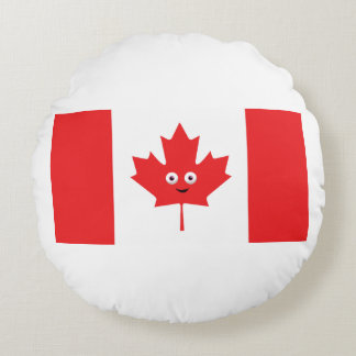 Canadian Maple Leaf Face Round Pillow