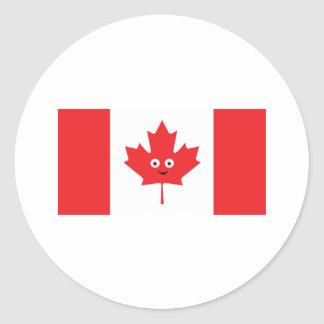 Canadian Maple Leaf Face Round Sticker
