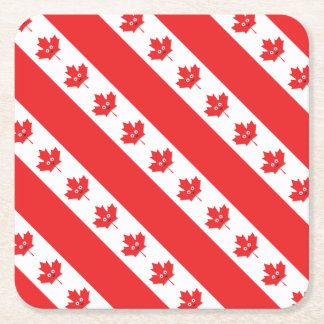 Canadian Maple Leaf Face Square Paper Coaster