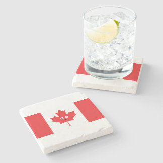 Canadian Maple Leaf Face Stone Coaster