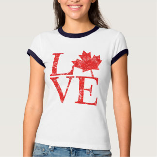 Canadian Maple Leaf LOVE Grunge Style CANADA T Shirt