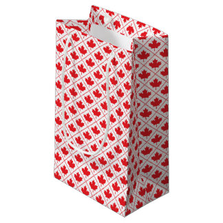 Canadian Maple Leaf Red and White Diamond Design Small Gift Bag