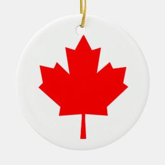 Canadian Maple Leaf Round Ceramic Ornament