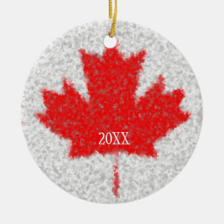 Canadian Maple Leaf Snowstorm Holiday Custom Date Round Ceramic Ornament