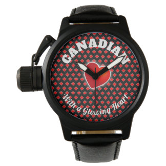 Canadian Maple Leaf with Dot Pattern Background Watch