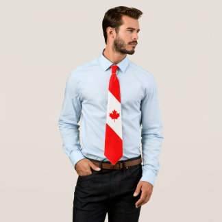 Canadian Maple on Red and White Tie