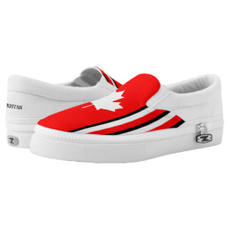 Canadian Maple on Red White Black (cust.) Slip-On Sneakers