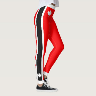 Canadian Maple on Red White Black Leggings