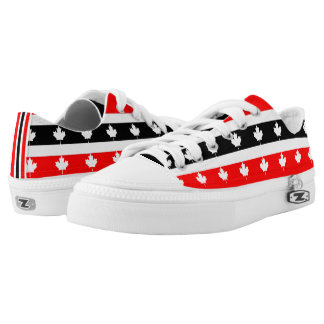 Canadian Maple on Red White Black Low-Top Sneakers