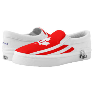 Canadian Maple on Red White  (cust.) Slip-On Sneakers
