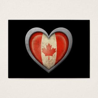 Canadian Metal Heart Flag on Black Business Card